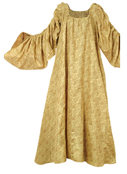 Royal Gold Chemise - luxurious alternative to a white chemise - gold on gold floral in rayon, S-XL.