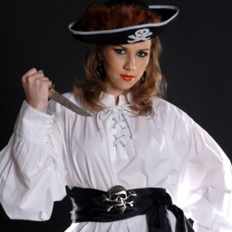 Grace O'Malley Shirt in black or white cotton with eyelet and cord closing in front.  Sizes to XXL.
