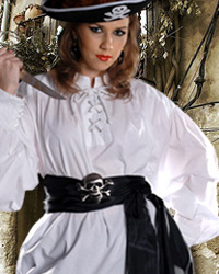Grace O'Malley Pirate Shirt in white.  Also available in black, sizes to XXL.