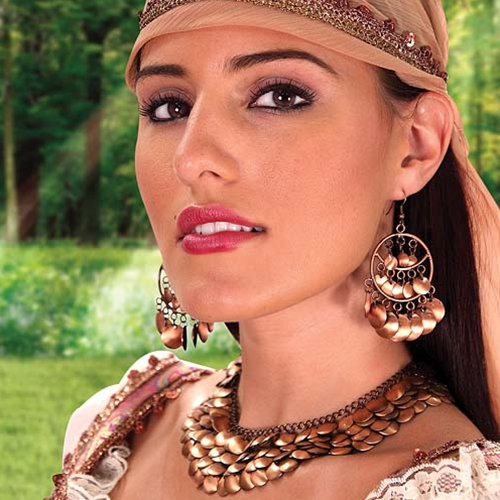 Gypsy Queen necklace and earrings made of shiny, copper-plated disks.