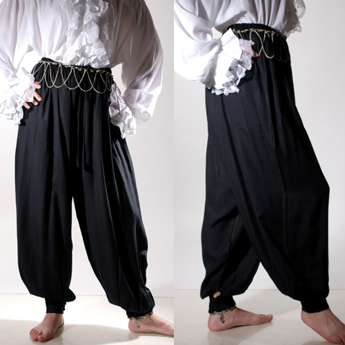 Harem or Pirate Pants in thick viscose fabric, elastic and drawstring waist, very wide at hips, buttons at hips and ankle cuffs, shown in black, comes in seven colors.