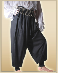 Harem or Pirate Pants - very wide legs, wide at hip, button at hip and cuffs for great fit., shown in black, available in  six other colors.