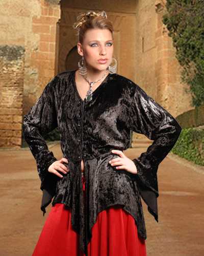 Hetha velvet blouse in black, also available in red