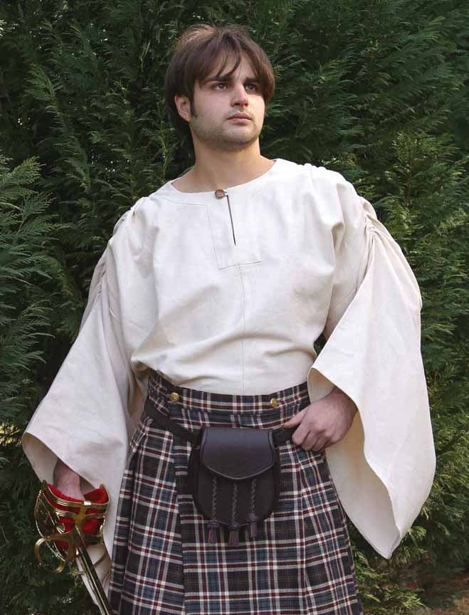 Brown plaid Scottish Kilt, shown with white Highland shirt, sold separately.