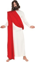Jesus robe, white with red shoulder sash.