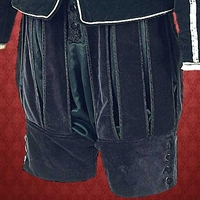 Black brocade knee pants with open slashes.