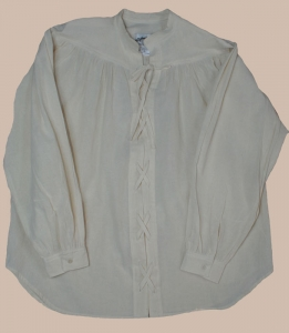 Yoked shirt with lace-up front, in natural
