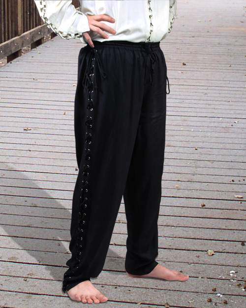Men's Lace-up Pants, Black only