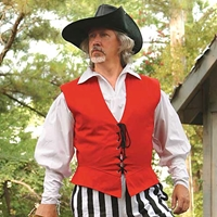 Lace-up 17th Century Style Pirate Vest in red, also comes in green and navy.