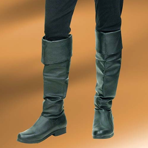 Ladies Pirate Boots, black leather knee-high cuffed boot, comfortable leather sole
