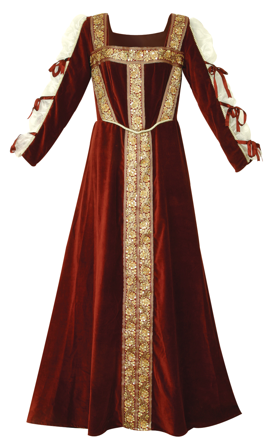 Lady Jane Gown - rich burgundy velvet with hand-beaded gold trim.  Sleeves  have sheer netting inserts and burgundy bows. Sizes to XL.