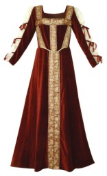 Lady Jane Gown in burgundy velvet with hand-beaded gold trim