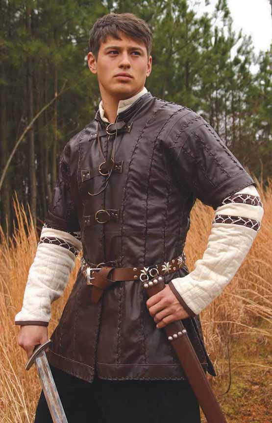 Short-sleeved brown leather jerkin with buckle-up front.