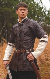 Brown Short Sleeve Leather Jerkin