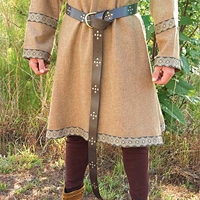 Leather Long Belt in brown leather, 74 inches long, brass buckle, nickel stud trim on length of belt.