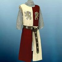 L:ionheart Tunic in red and white with gold embroidered lions on chest.