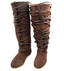 Locksley boots in brown suede with a lace-up front for a custom fit.  Hard sole for  all-day support.