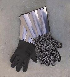 Mailed leather gauntles with slightly cupped steel lames around cuffs.