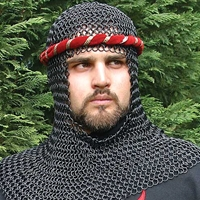 Chain mail coif  of blackened steel links in the international pattern.