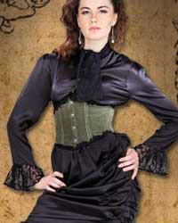 Wickfield blouse in black satin with lace cuffs and attached tie