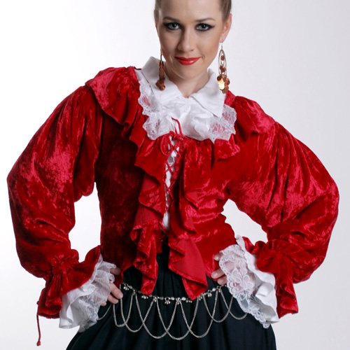 Mary Read Blouse in red velvet with white lace frills at neck and cuffs, eyelet and cord clos in front.  Front is waist length, back is long and flowing like a frock coat.  Also available in black.  Sizes to XXL..