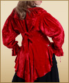 Mary Read red pirate blouse in rich viscose velvet, back view.  Also in black, sizes to XXL.