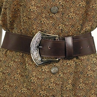 Mary Read Pirate Belt in brown leather with ornate buckle, one size fits most.