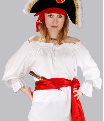 McGreedy Pirate Blouse in white, ruffled cuffs, elasticized neckline to wear on or off shoulders.