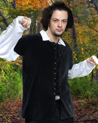 Medieval Jerkin in black  Also available in brown and moss green.