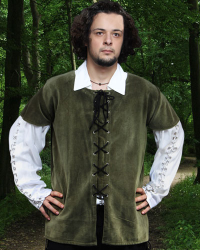 Medieval Jerkin in dark moss green.  Also available in brown and black