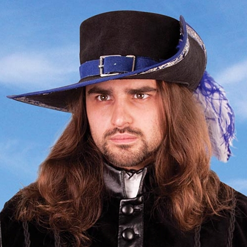 Black suede musketeer hat with blue trim, matching blue suede hat band.