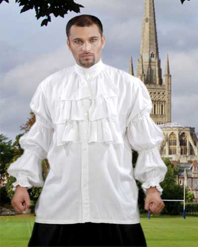 Late Renaissance noble's shirt, white with banded neck, ruffled front and cuffs.