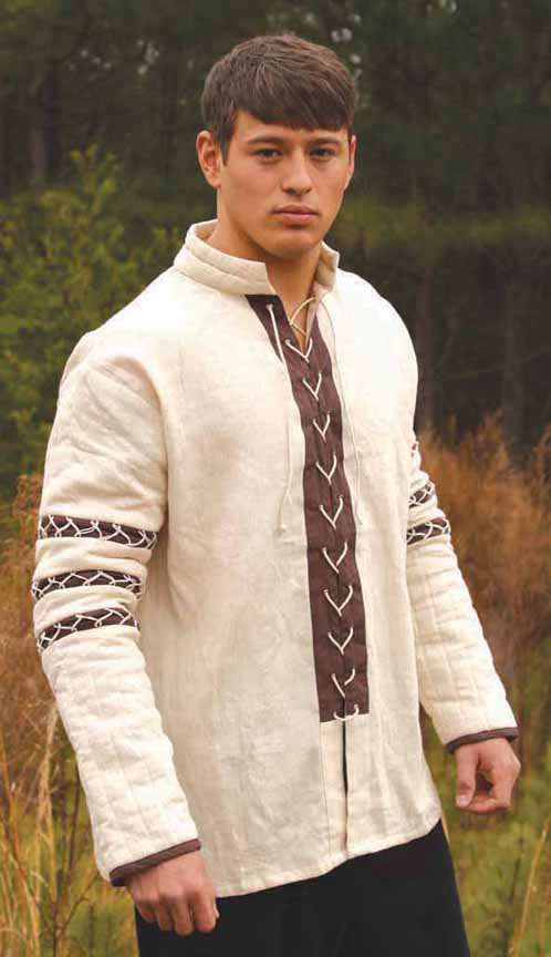 Padded shirt gambeson in natural cotton