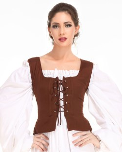 Peasant bodice in chocolate, reverses to light brown