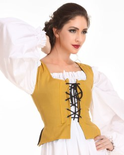 Peasant Wench Bodice in gold, reverses to black