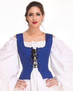 Peasant Wench Bodice in Royal Blue, reverses to black
