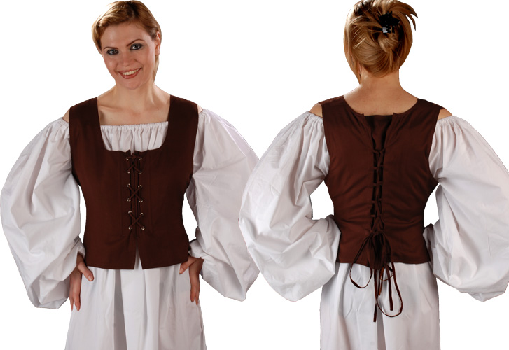 Front and back view of Peasant Wench Chemise in chocolate brown, comes in five other colors.
