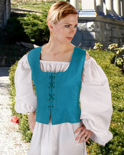 Peasant Wench Bodice in Hawiian Ocean Blue, reverses to black