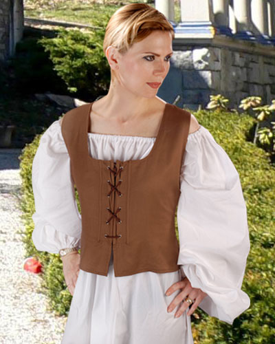 Light Brown Peasant Winch Bodice, the reverse side of the chocolate Peasant Bodice.  Other colors reverse to black.