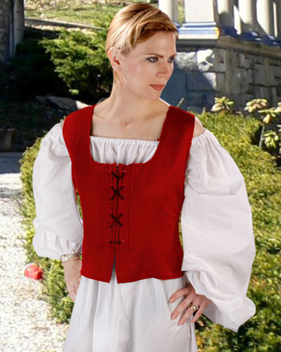 Peasant Wench Bodice in red, reverses to black