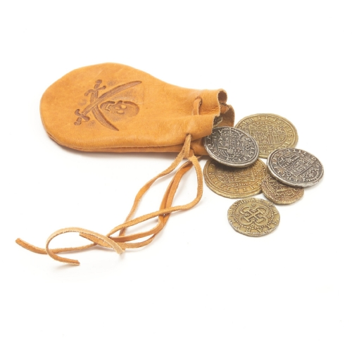 Tan leather pirate belt pouch with replica Spanish doubloons