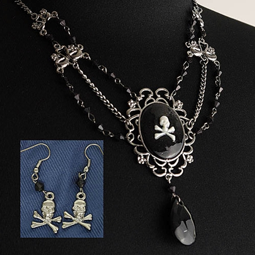 Pirate Jolly Roger cameo necklace and earrings in black and silver