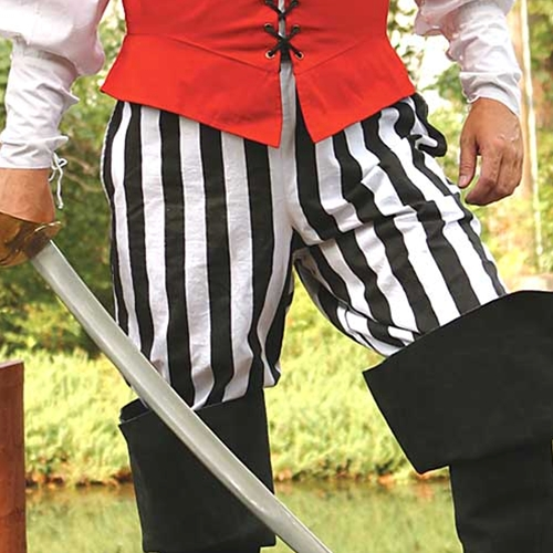 Pirate pants in black and white stripes