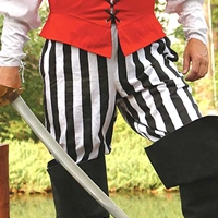 All-cotton pirate pants shown in black and white stripe, also available in black and grey-black stripe