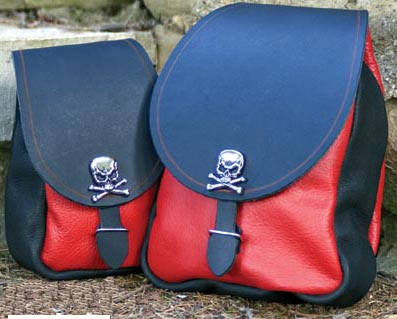 Pirate belt pouches in large and small sizes, red front