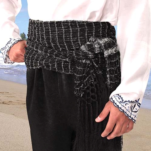Pirate Sash in black, also available in gold and burgundy