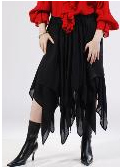 Pirate Skirt with Handkerchief hem, two overlaping layers in red or black, sizes to XXL.