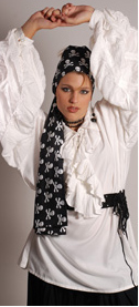 Black  pirate scarf screenprinted with skull and crossbones pattern in white.