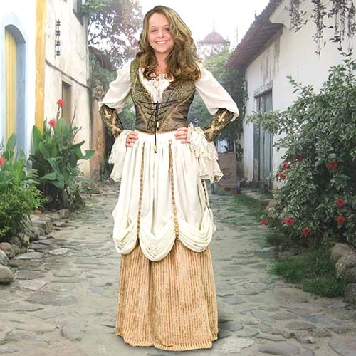 Port Royal Ensemble - cream blouse, gold-striped velvet skirt with cream overskirt, olive brocade vest and arm bracers.
