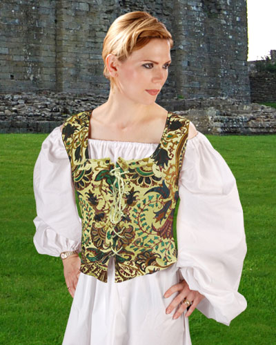Princess bodice in cotton with velvet patchwork design in green and brown